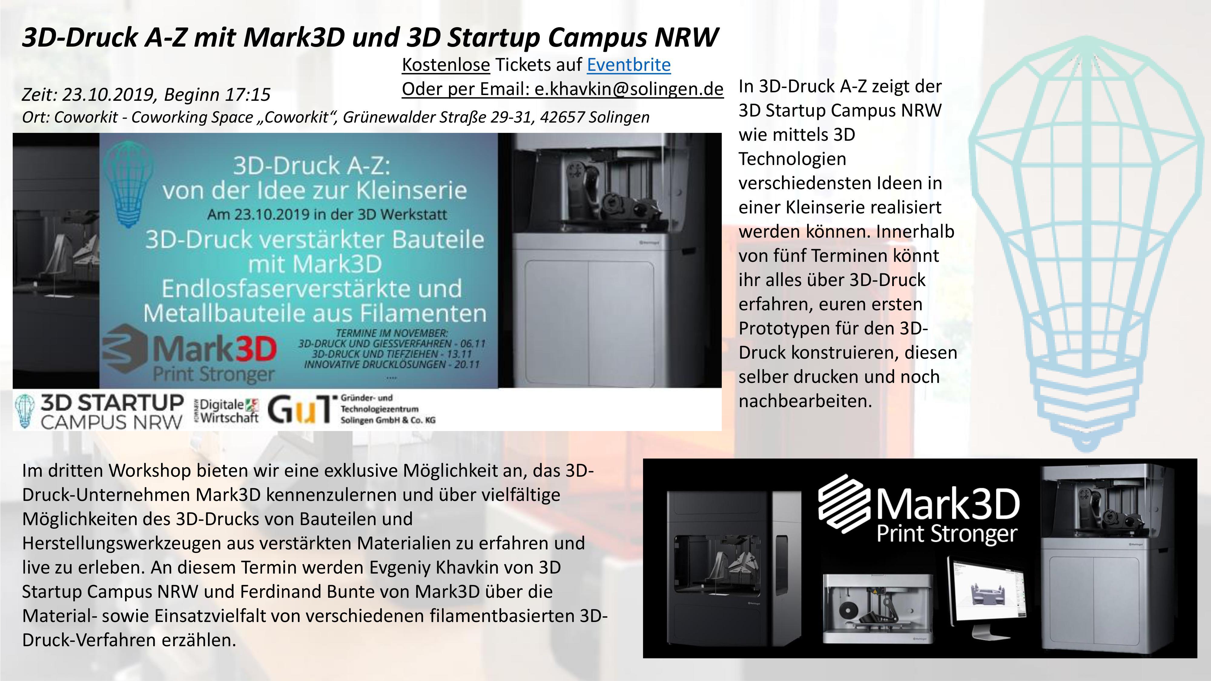 3D-Druck A-Z mit Mark3D und 3D Startup Campus NRW